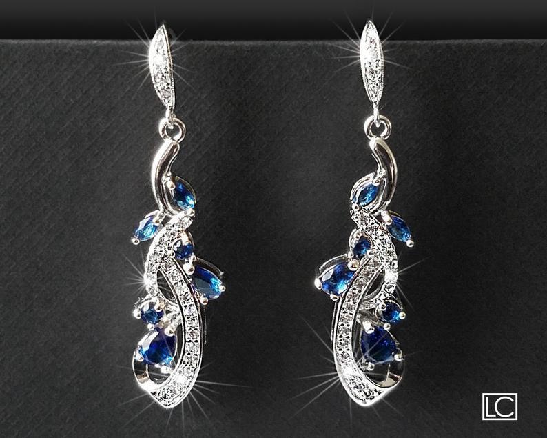 Свадьба - Navy Blue Bridal Earrings, Wedding Blue Crystal Earrings, Bridal Blue Silver Earrings, Floral Dangle Crystal Earrings Wedding Bridal Jewelry