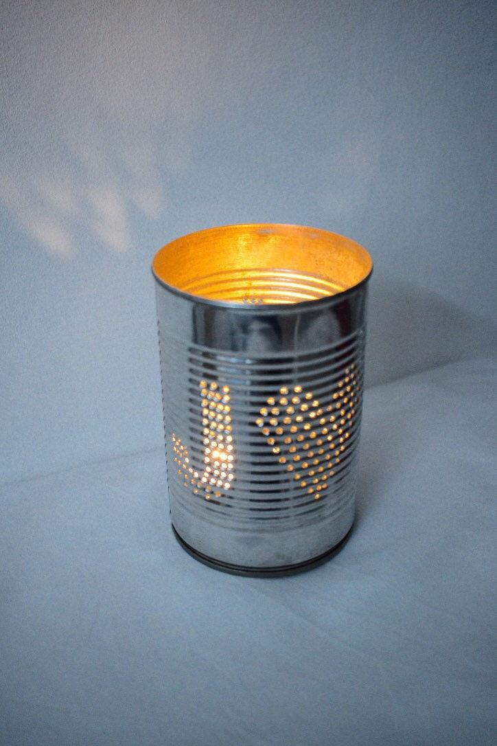 Mariage - Personalised Ten Year Wedding Anniversary Initials Upcycled Tin Can Lantern