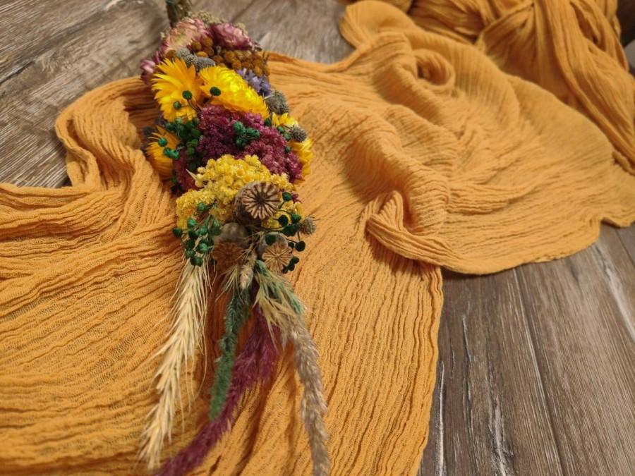 Свадьба - Mustard wedding Gauze table runner table centerpiece cheesecloth runner rustic table runner wedding decor farm wedding cotton gauze signs