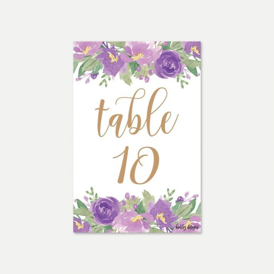 Mariage - Elegant Purple Floral Wedding Table Numbers Template - DIY Table Numbers for a Wedding, Editable Printable Table Numbers, Digital Downloads