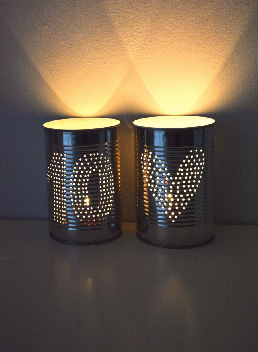 Wedding - Personalised Ten Year Wedding Anniversary Heart Upcycled Tin Can Lantern Set