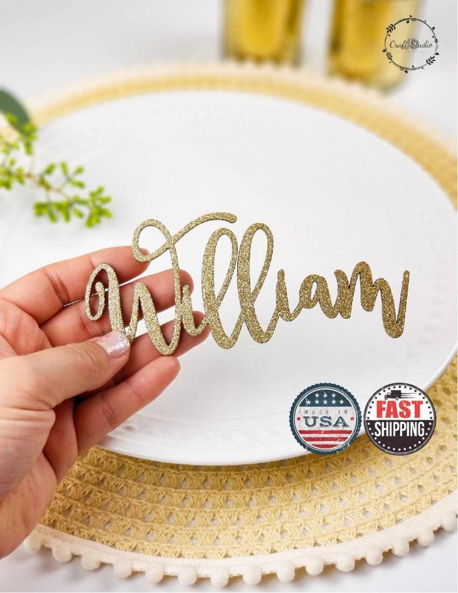 Hochzeit - Wedding Name Place Card, Wood Place Name Setting, Name Place Cards, Wedding Table Names, Laser Cut Place Card, Place Setting Names [102]