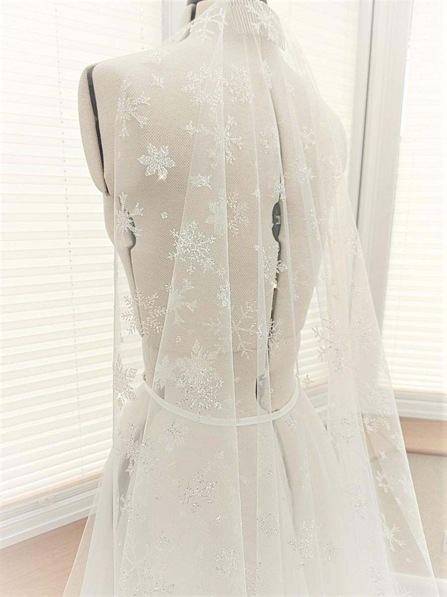 Mariage - Sparkle Veil, Snowflake Glitter veil, shimmer veil, winter wedding, chapel veil,Fingertip veil, Wedding Veil, Cathedral veil