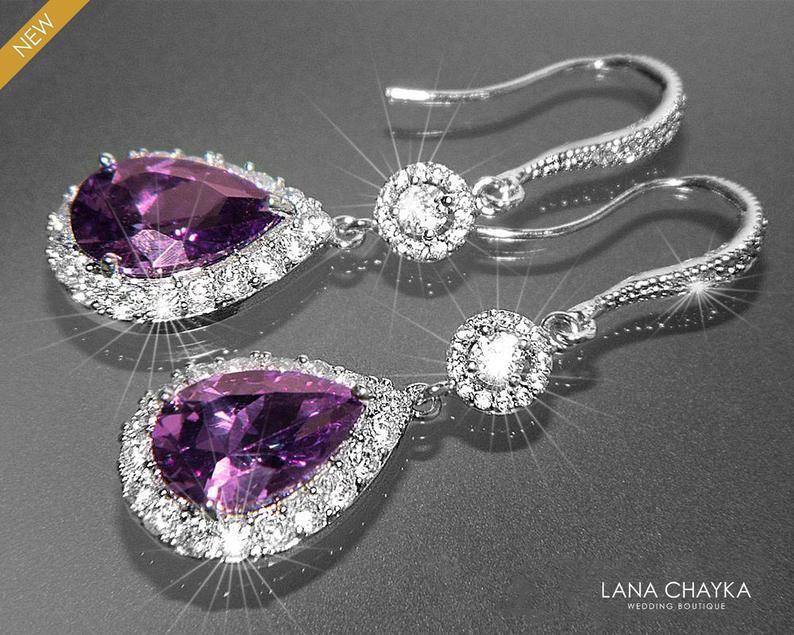 Wedding - Amethyst Crystal Earrings, Purple Chandelier Bridal Earrings, CZ Teardrop Wedding Earrings, Purple Halo Wedding Earrings, Bridal Jewelry