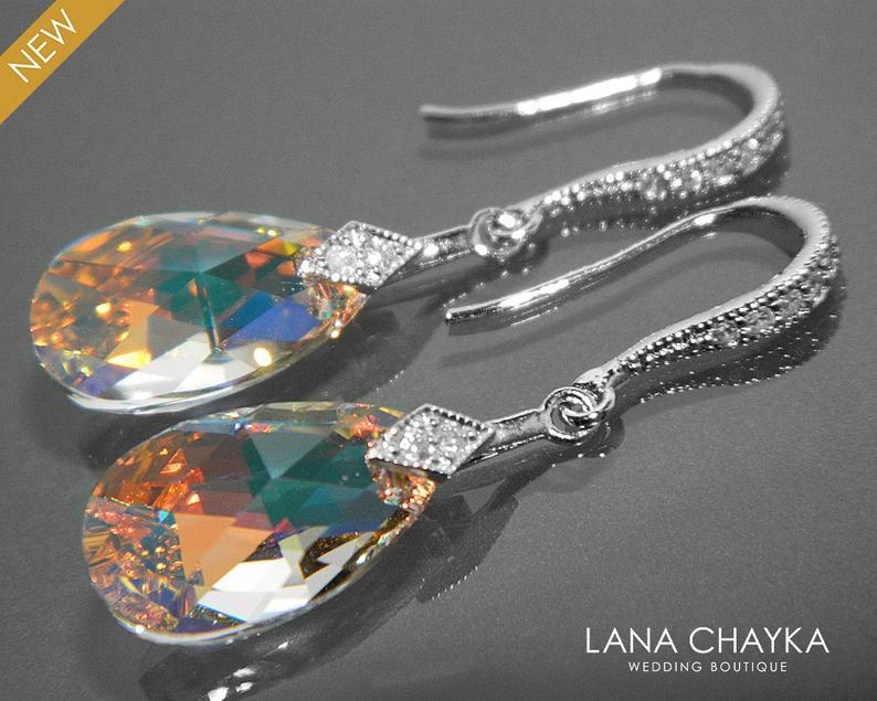 Wedding - Aurora Borealis Crystal Earrings, Swarovski AB Crystal Silver Earrings, Teardrop Crystal Bridal Dangle Earrings, Wedding Bridesmaids jewelry