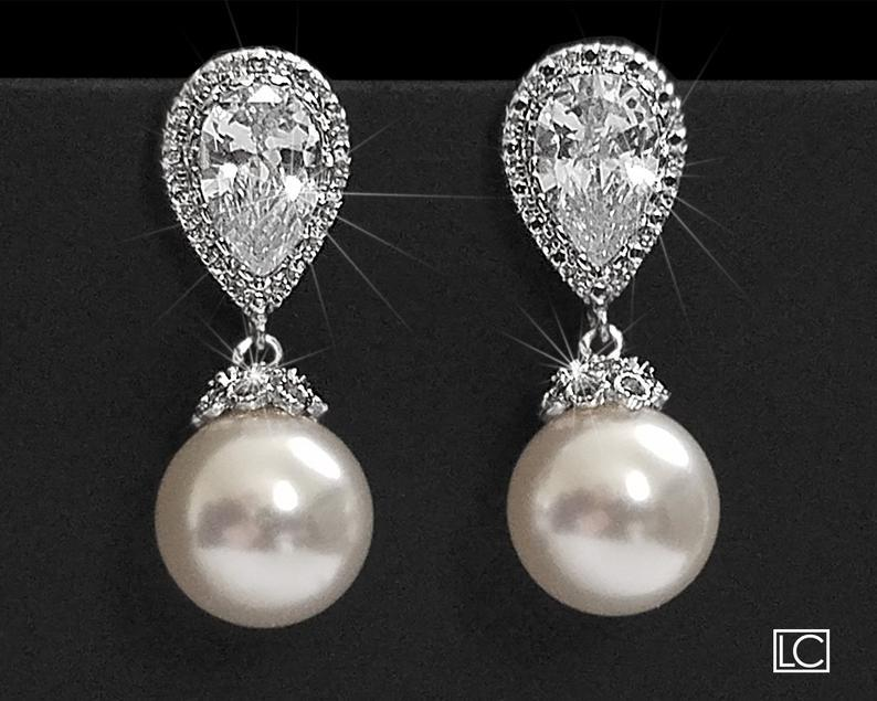 Wedding - Bridal Pearl Earrings, Swarovski 10mm White Pearl Earrings, Pearl Silver Wedding Earrings, Bridal Bridesmaids Jewelry Classic Pearl Earrings