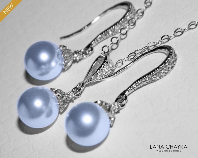 Wedding - Light Blue Pearl Jewelry Set, Swarovski 8mm Blue Pearl Earrings&Necklace Set, Wedding Blue Drop Pearl Bridal Set, Bridesmaids Jewelry, Prom