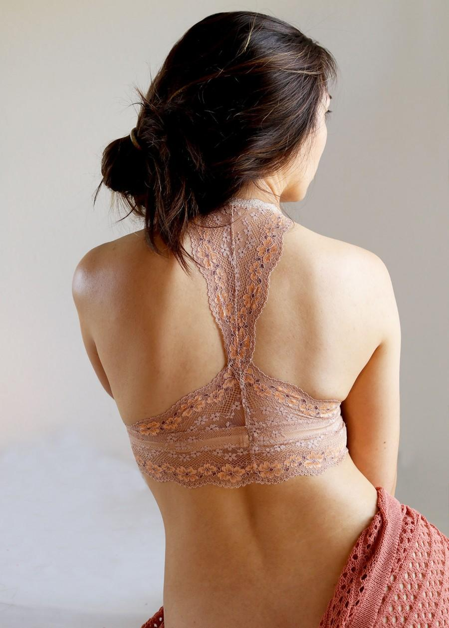 Hochzeit - Triangle Back Lace Bralette. Beige Lace Bralette. Wireless Handmade Bra Top. Red and Ivory. Summer Fashion