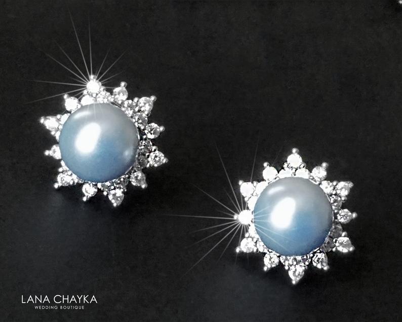 Wedding - Light Blue Pearl Earring Studs, Swarovski Blue Pearl Silver Earrings, Sky Blue CZ Halo Bridal Earrings, Wedding Bridesmaids Blue Jewelry