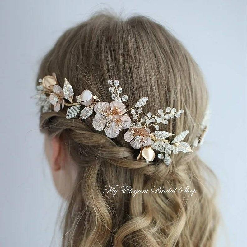 Hochzeit - Gold & Pearl Bridal Hair Clip/ Pin Set-Gold Bridal Headpiece-floral Wedding Hair Jewellery-Gold Floral Bridal pins-Bridesmaids Hair Pins