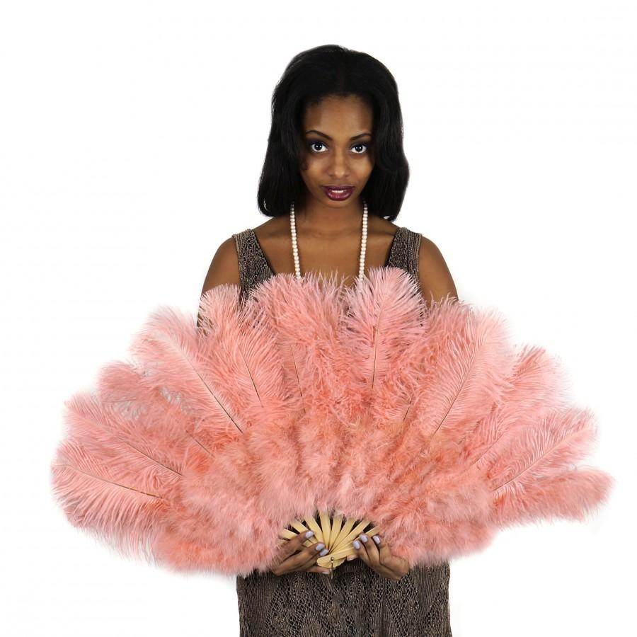 Wedding - Blush Feather Fan, Ostrich and Marabou Feather Fan For Burlesque, Boudoir Photoshoot Accessory, Showgirl Costume & Halloween Events ZUCKER®