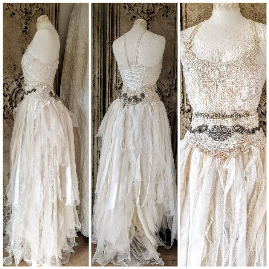 Mariage - Ethereal wedding dress in 2 pieces, couture statement wedding , alternative wedding in a ragged look