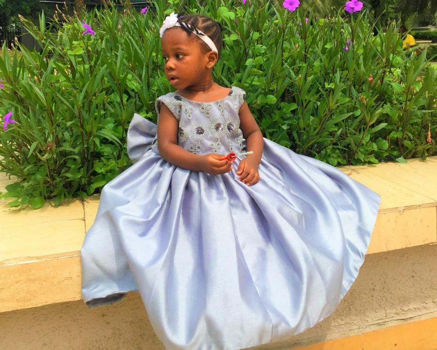 Mariage - Silk Ball Dress, Party Dress for kids, Birthday Dress for kids, Flower Girl Dress