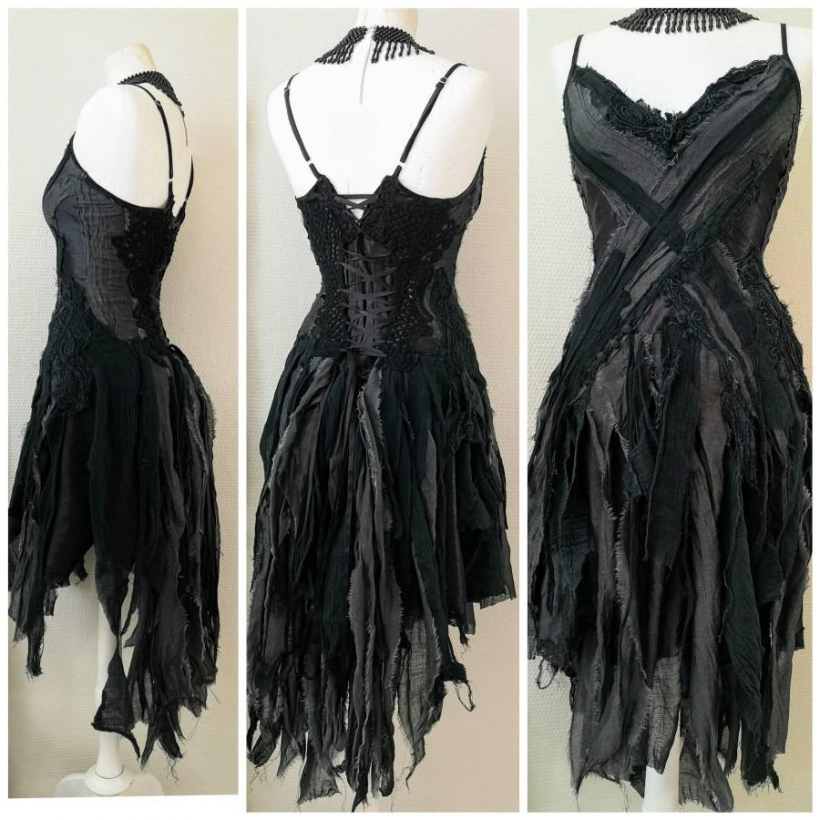 Mariage - Black goth dress. Witches dress Trashed dress. One of a kind RawRags