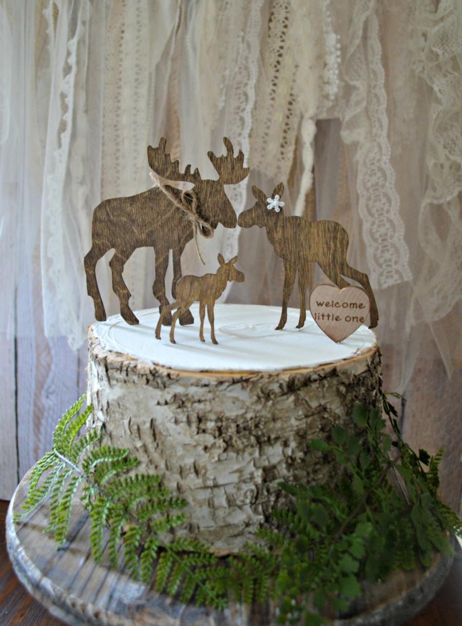 Wedding - Moose baby shower cake topper wedding moose love bride groom family baby the hunt is over hunting groom gender reveal moose hunter theme