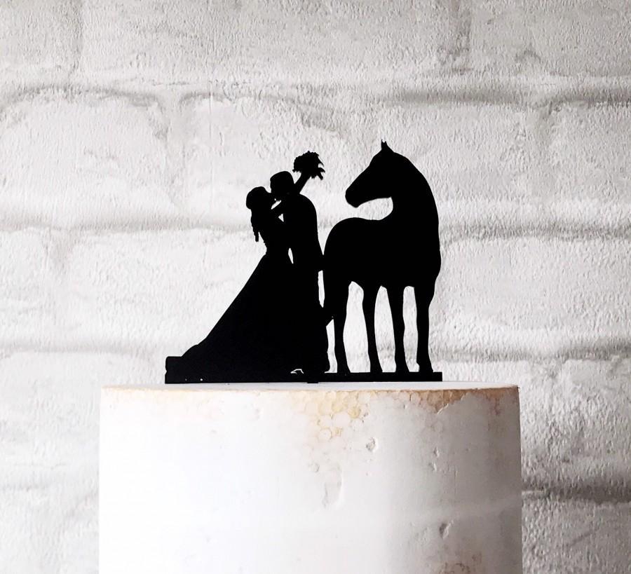Hochzeit - Horse Bride and Groom Silhouette Wedding Cake Topper Decoration