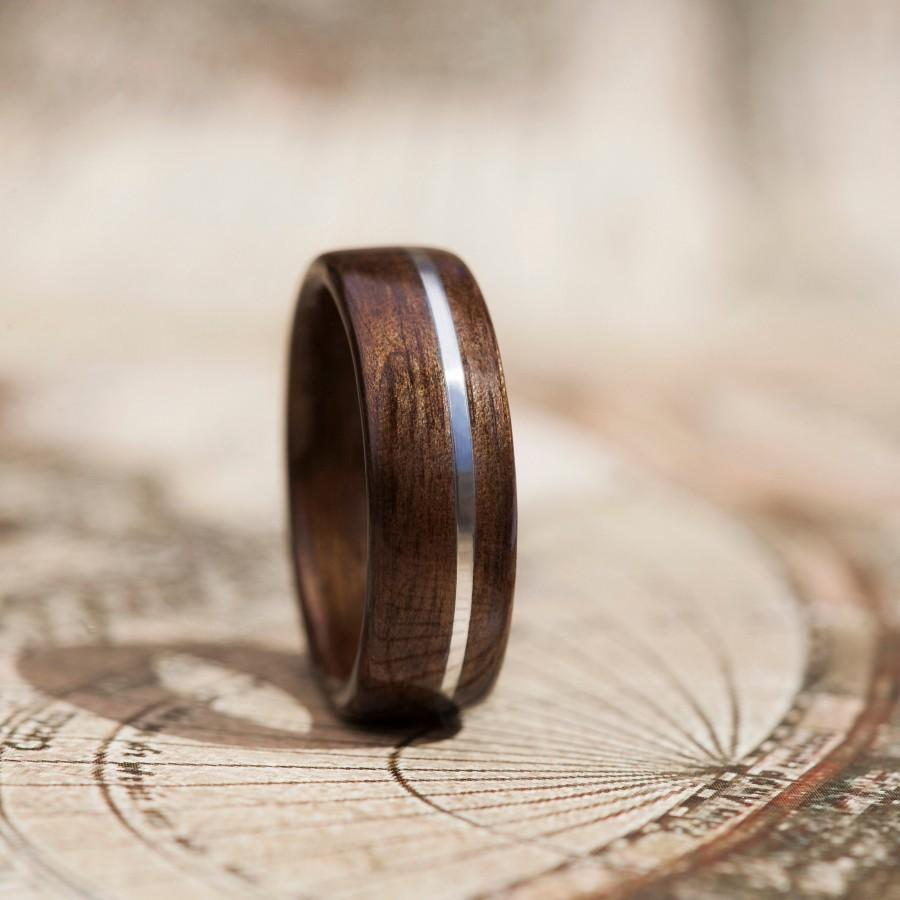 Wedding - Engagement ring made from Smoked Eucalyptus wood and Silver 925 string inlay - Handmade Jewelry - Mens engagement band - Anniversary gift