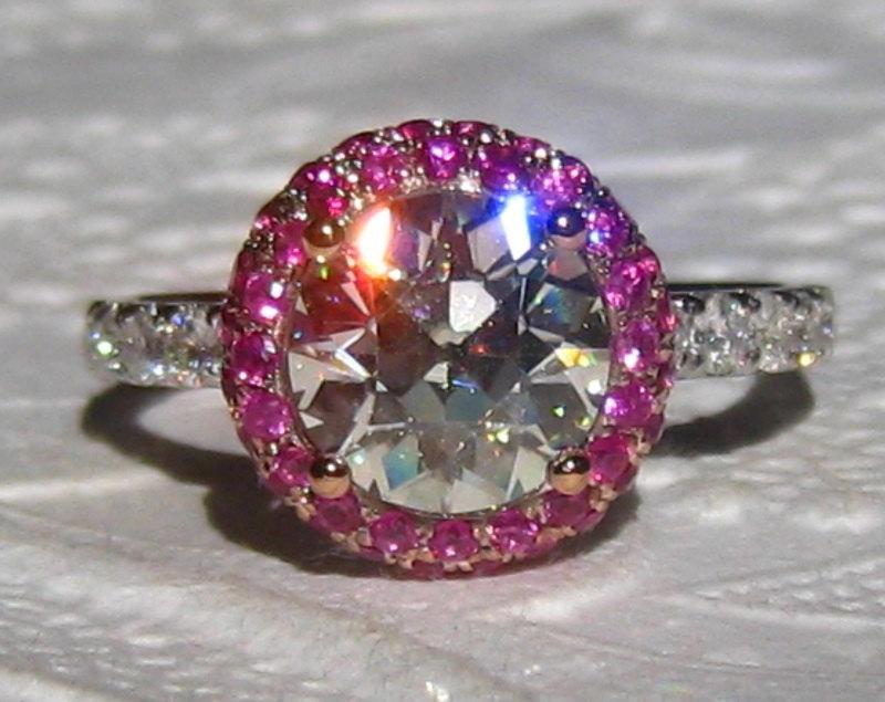 Wedding - Old European Cut (OEC) Moissanite in Pink Sapphire Halo Diamond Engagement Ring, Moissanite Engagement Ring