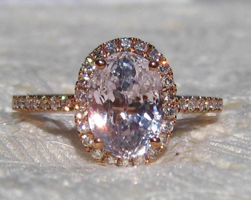 Hochzeit - GIA Certified Peach Sapphire Rose Gold Diamond Halo Engagement Ring, Rose Gold Engagement Ring, Oval Pink Sapphire Ring