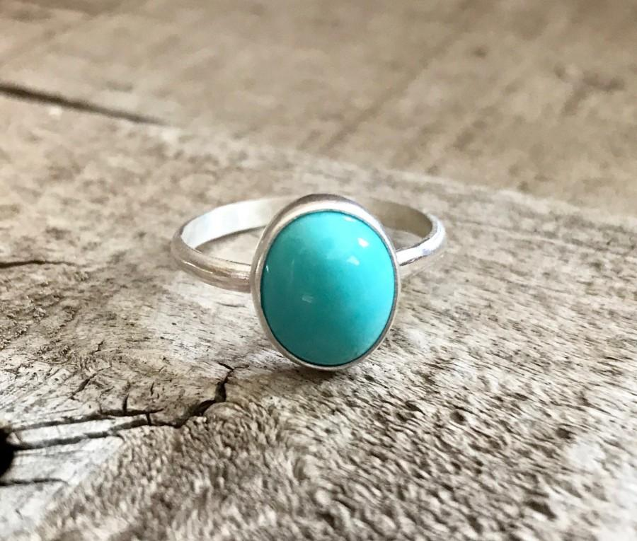 Mariage - Elegant Modern Sky Blue Turquoise Oval Sterling Silver Ring