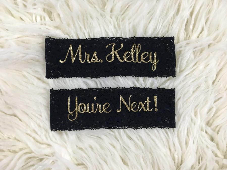 Свадьба - Wedding Garter, Personalized Garters, You're Next, Wedding Garters, Personalized Wedding Garters, Toss Garter, Wedding Garter Set