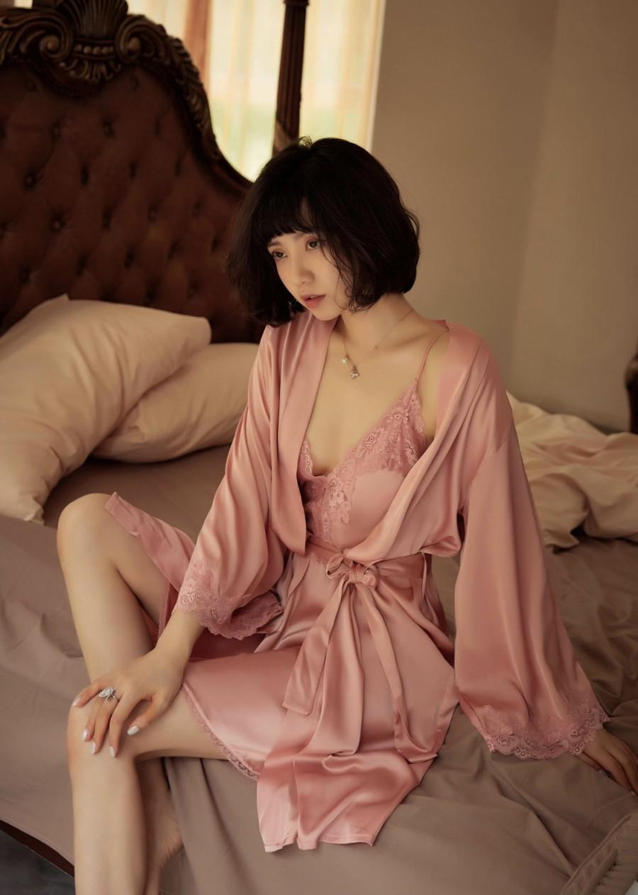 Свадьба - Vintage Silk Nightgown- Silk Chemise- Silk Erotic Lingerie- Bride Nightgown- Silk Nightgown- Silk Babydoll- Silk Slip- Silk Lingerie Dress