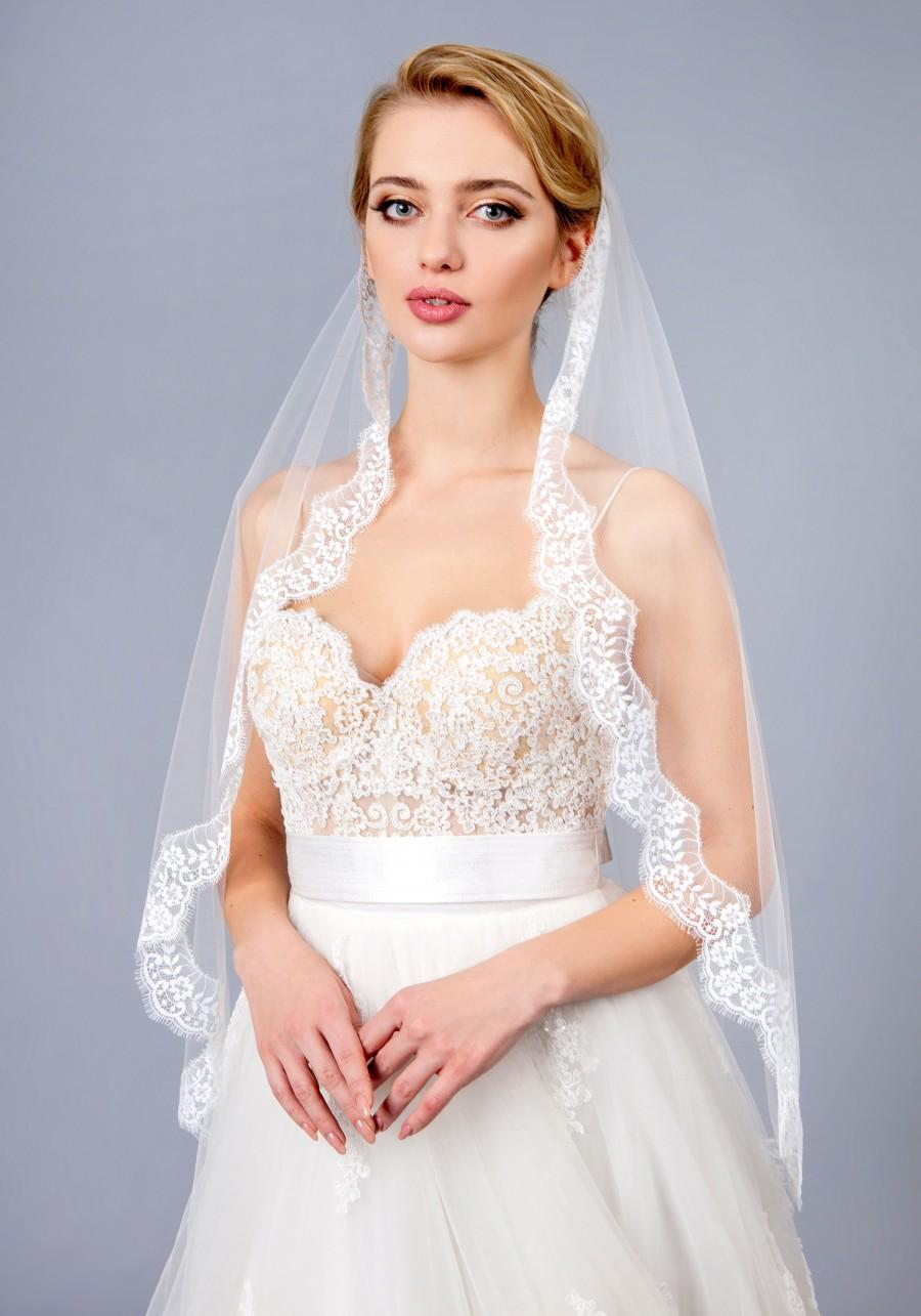 Mariage - Full lace veil, Wedding lace veil, veil Bridal lace Veil, white, ivory, Wedding veil bridal Veil Fingertip chapel long veil