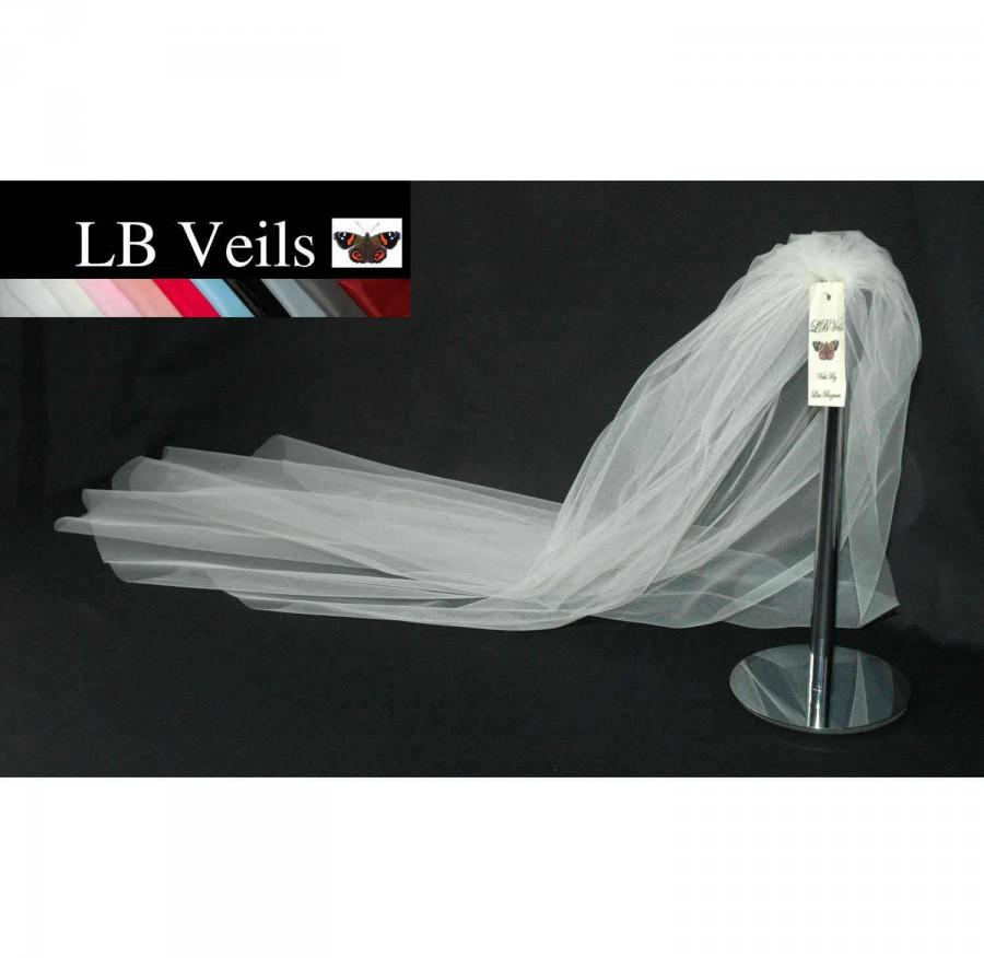 زفاف - White Veil, Wedding Veil, Plain Veil, 1 Single Tier,  Elbow Length, Short, Long, Veil, Fingertip, Chapel, Cathedral, LB Veils LBV162 UK