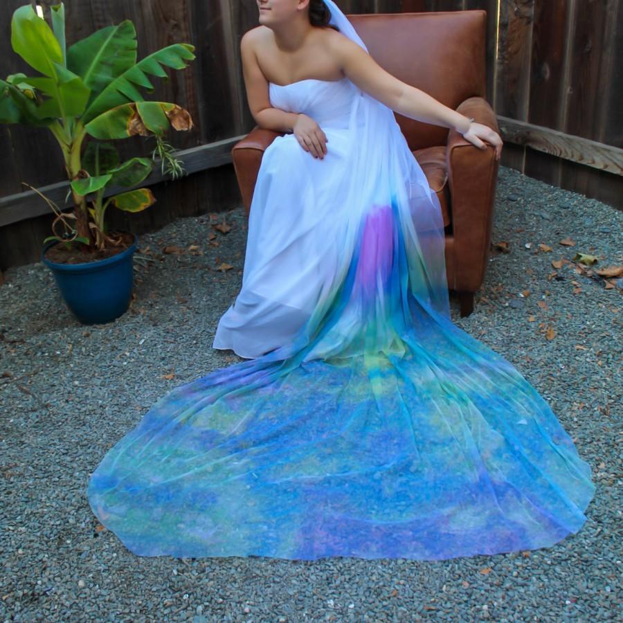 Hochzeit - Monet's Garden Colorful Bridal Veil