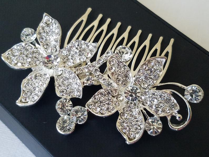Wedding - Crystal Bridal Hair Comb, Orchid Crystal Wedding Comb, Floral Crystal Head Piece, Wedding Hair Jewelry, Crystal Silver Comb, Bridal Combs