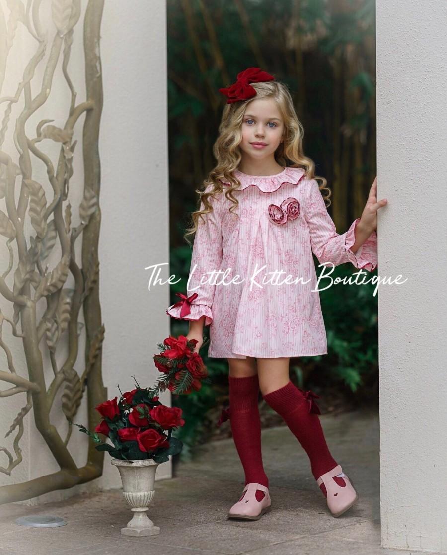 Свадьба - Holiday Dress, Christmas Dress, flower girl dress, Birthday Dress, babydoll dress, long sleeve dress, girls dress, toddler dress, pink dress