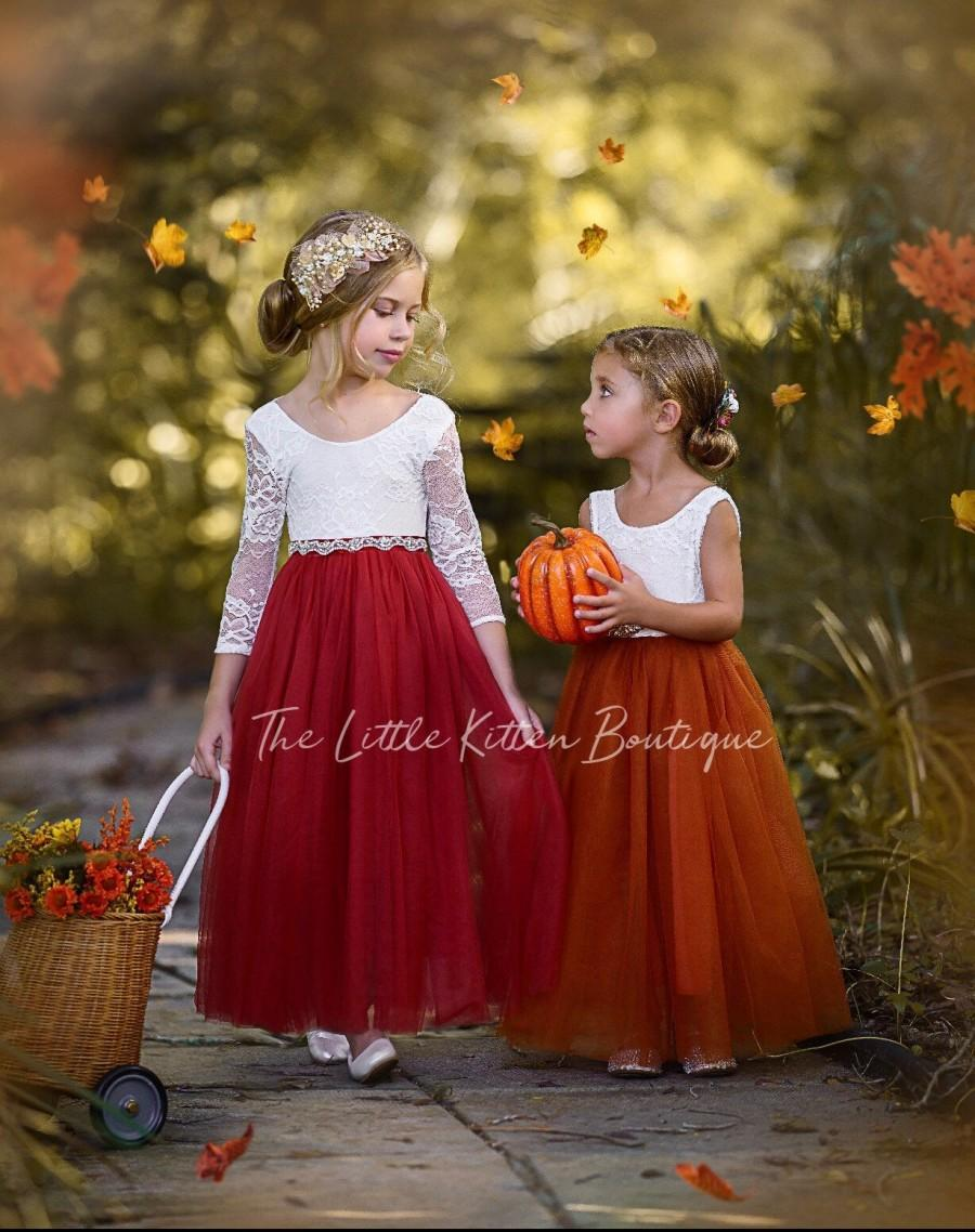 Свадьба - Burnt Orange Flower Girl Dress, Rust Flower Girl Dress, lace flower girl dress, Rustic flower girl dress, Boho Flower Girl Dress, Fall Dress