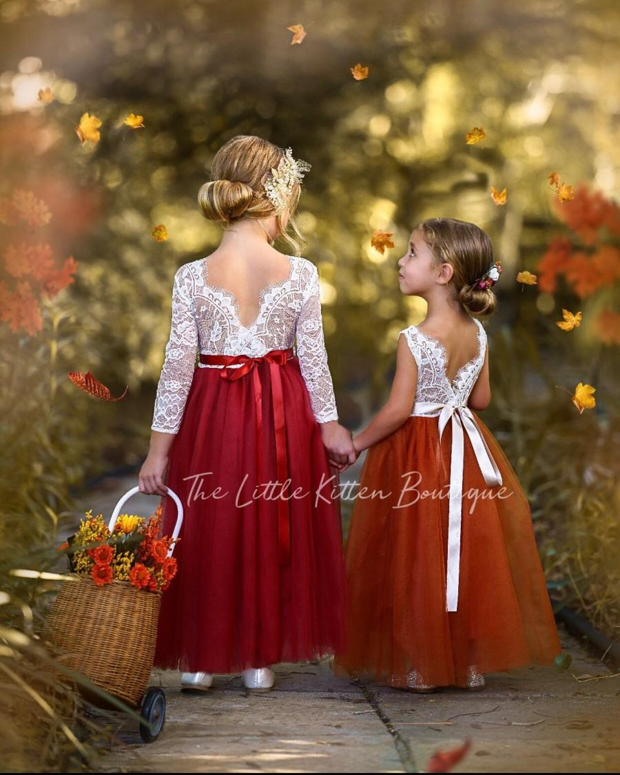 Wedding - Burnt Orange Flower Girl Dress, Rust Flower Girl Dress, lace flower girl dress, Rustic flower girl dress, Boho Flower Girl Dress, Fall Dress