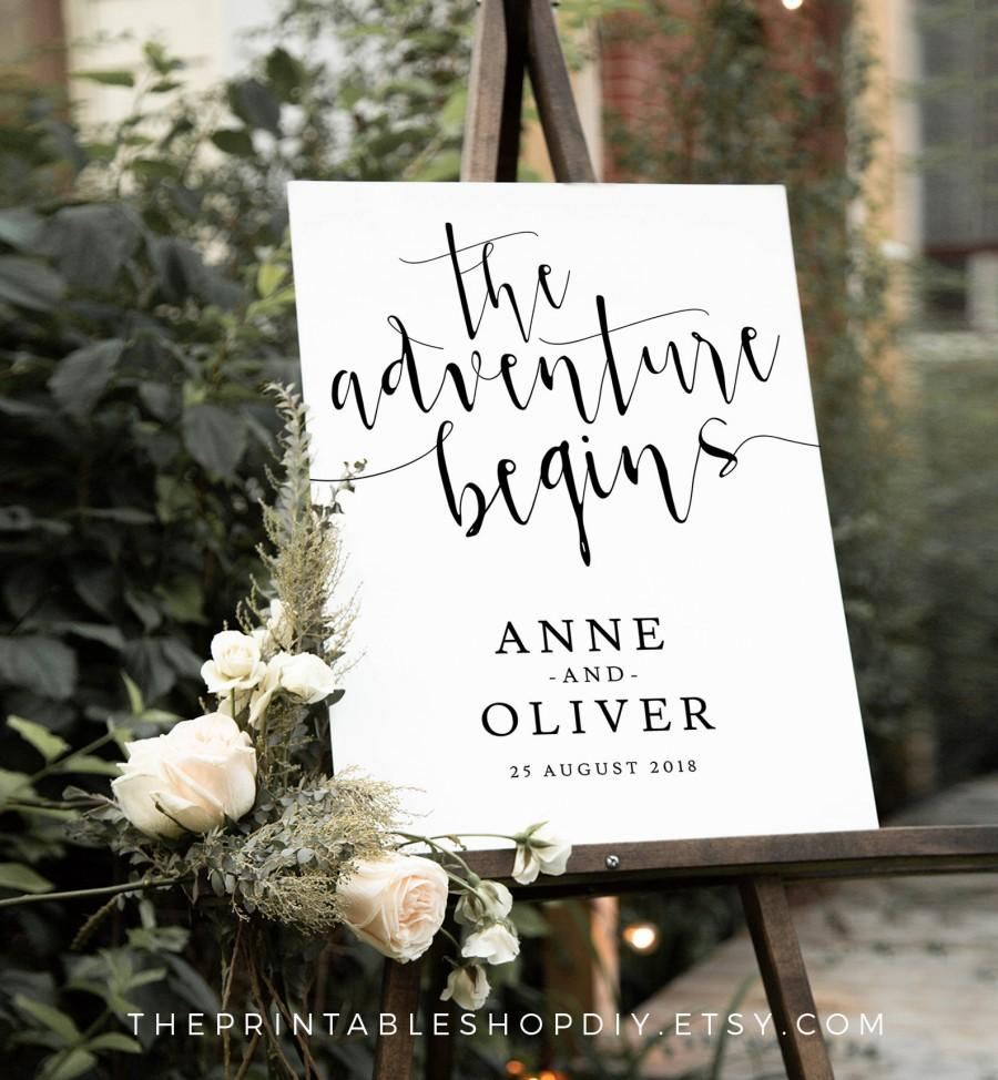 Свадьба - Adventure wedding sign, alternative wedding signs, welcome to our wedding, wedding welcome sign, rustic wedding, rustic wedding sign