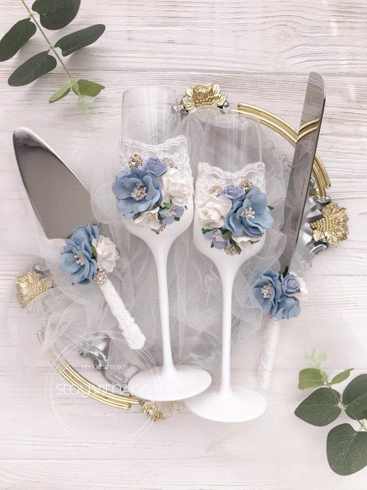 Wedding - Dusty Blue Champagne Flutes Wedding Bride and Groom Toasting Flutes Wedding Set Vintage Rustic Chic Decor Wedding Glasses Winter Wedding