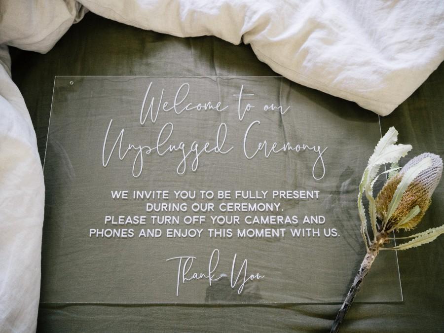 Hochzeit - Unplugged Ceremony Sign - Wedding Sign – Acrylic Wedding Sign - Acrylic Welcome Sign