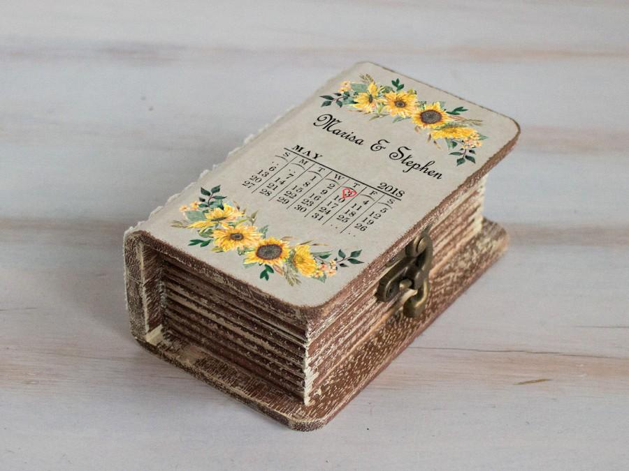 Wedding - Wedding ring box Sunflowers Ring Bearer Box Personalized wedding box Save the date wedding Box Еngagement box Custom Proposal Box Wooden box