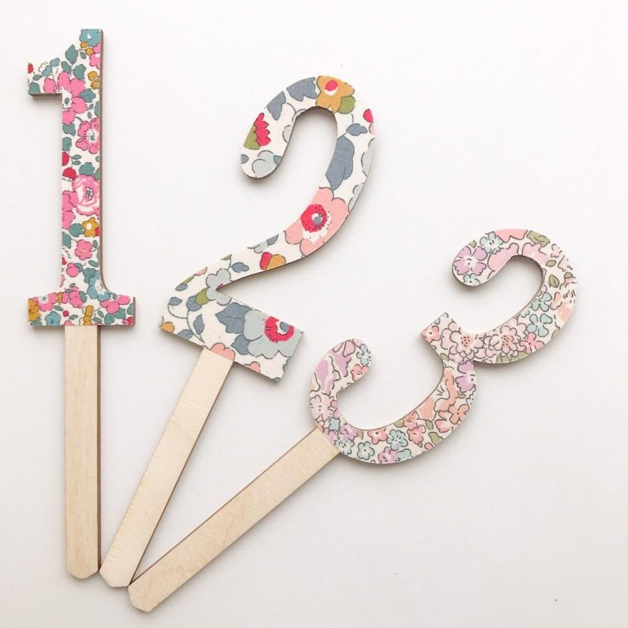 Свадьба - Liberty of London Cake Topper. Wooden Cake topper in any Age
