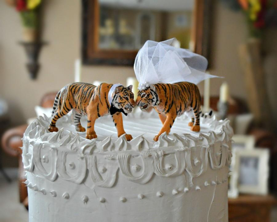 زفاف - Tiger-bride-groom-wedding-cake topper-Mr and Mrs-zoo wedding-tiger lover-cat-jungle-animal-woodland-circus-tiger wedding-zoo wedding-cat-