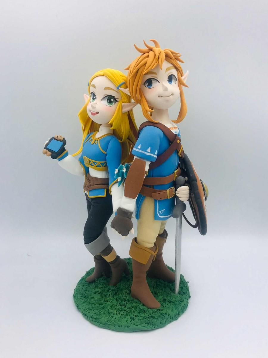 زفاف - Geek wedding cake topper, game commission figurine, gamer wedding topper bride & groom