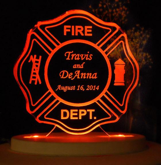 زفاف - Fireman Maltese Cake Topper -  Wedding - Retirement - Personalized - Light Extra