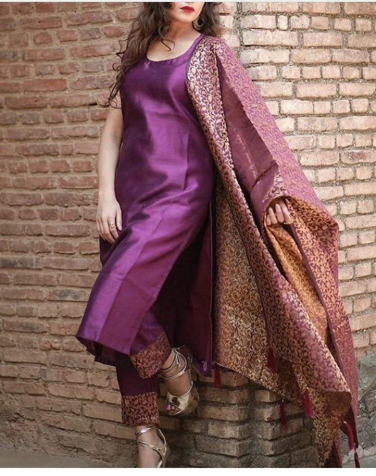 Wedding - Purple Punjabi salwar kameez custom made dress ethnic suits banarasi brocade dupatta indian womens Pakistani shalwar suit