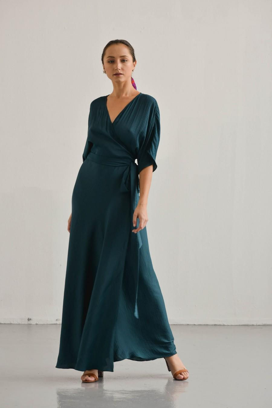 Hochzeit - Lily Hunter Wrap Dress / Silk Floor Length Wrap Dress / Kimono Sleeves Silk Dress