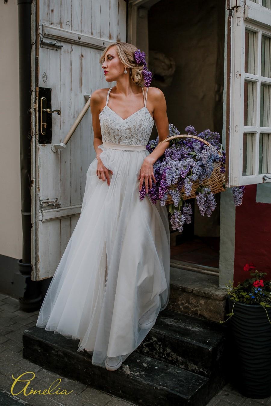 Wedding - Flowy Tulle Beige Wedding Dress/ Bohemian Beige Wedding Dress/ Beige Low Back Wedding Dress/ Bohemian Lace and Tulle Beige Wedding Dress