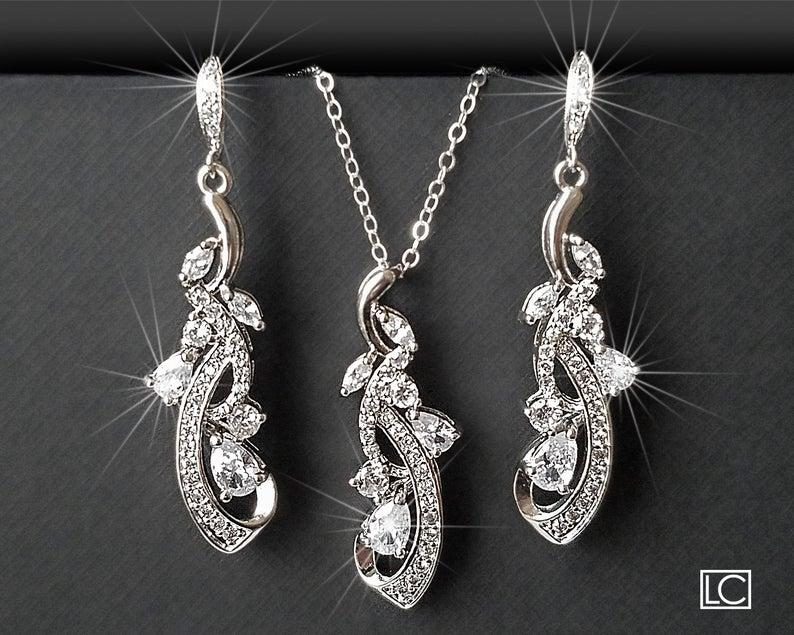Свадьба - Bridal Jewelry Set, Wedding Floral Earrings&Necklace Set, Chandelier Earrings Pendant Set, Bridal CZ Silver Jewelry, Bridal Party Gift