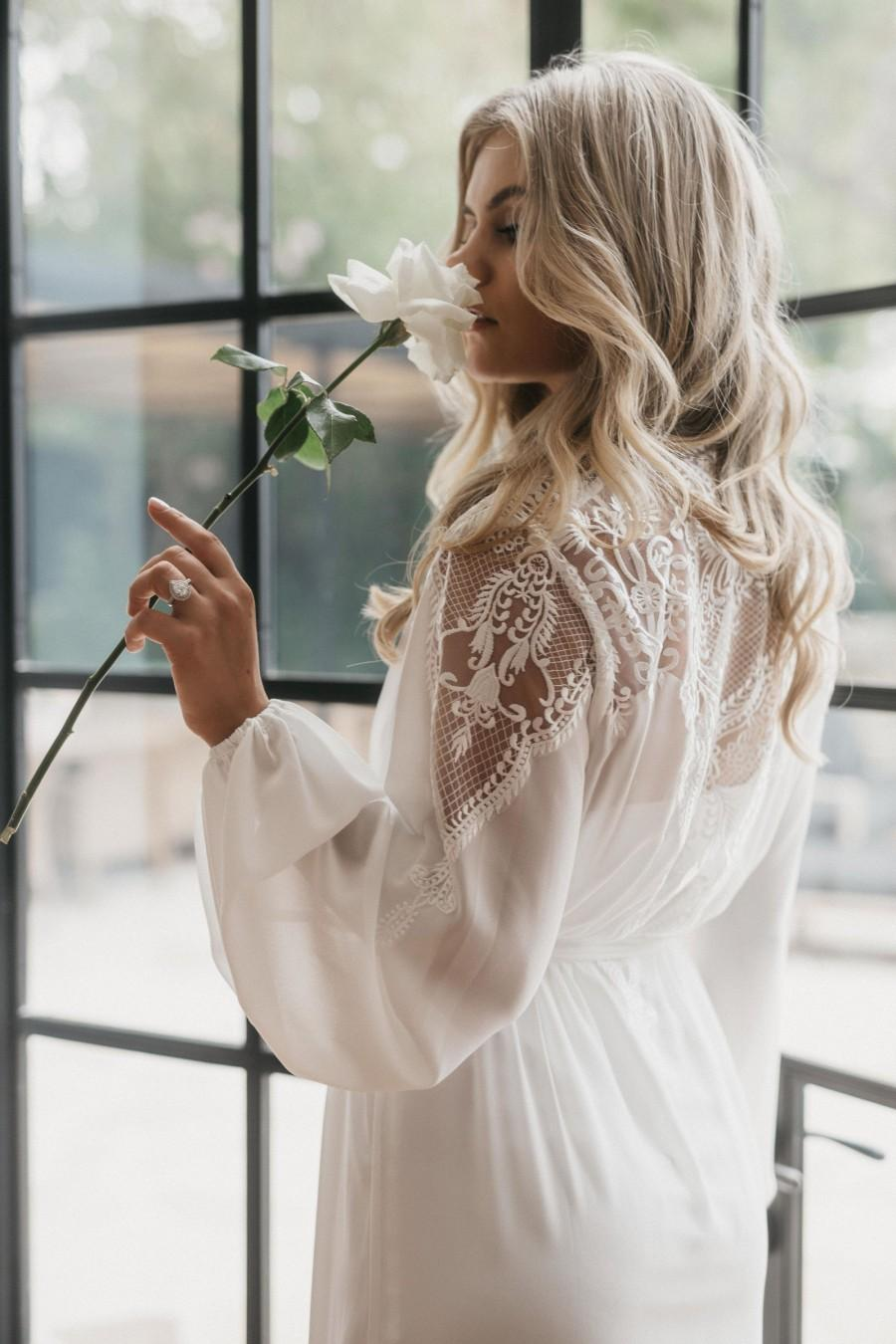 Hochzeit - Lace Maxi Robe Including Slip / Lace Bridal Robe / Bridesmaid Robes / Robe / Bridal Robe / Bride Robe / Bridal Party Robes / LUNA