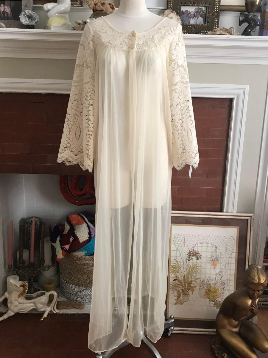 Hochzeit - vintage ivory long sheer robe with crochet bell sleeve. size medium