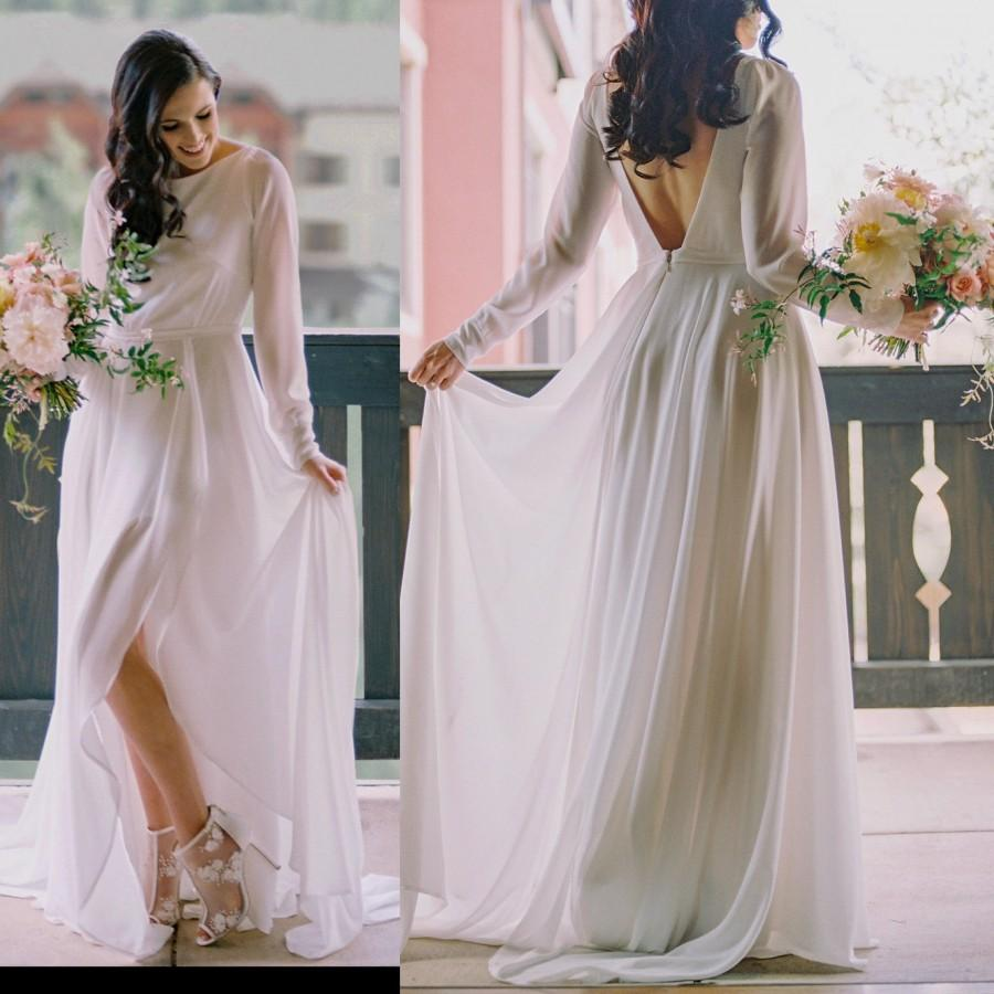 Wedding - Chiffon Long Sleeve Wedding Dress with a Sexy Slit, Vintage Style, Low Back, off white, High Neck, Classic And Bohemian Bridal Gown