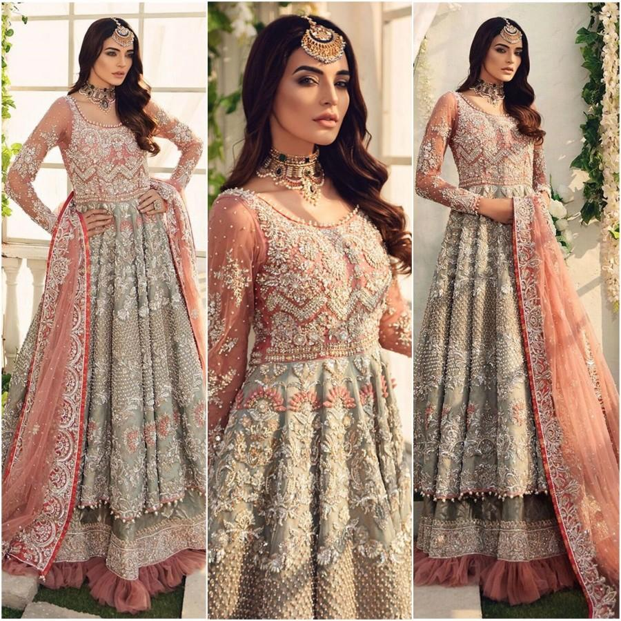 Свадьба - Pakistani Indian Wedding dresses Bridal Lehnga Collection Pink Maxi Eid Style Suits Latest Clothes Shalwar Kameez Party Wear Made To order