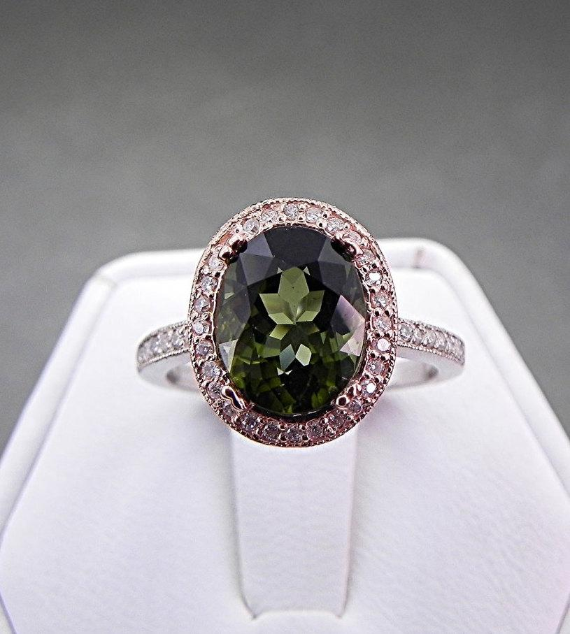 زفاف - AAA Green Tourmaline   10x8mm  2.89 Carats   in a 14k White/Rose gold ring with diamonds (.30ct) 0958